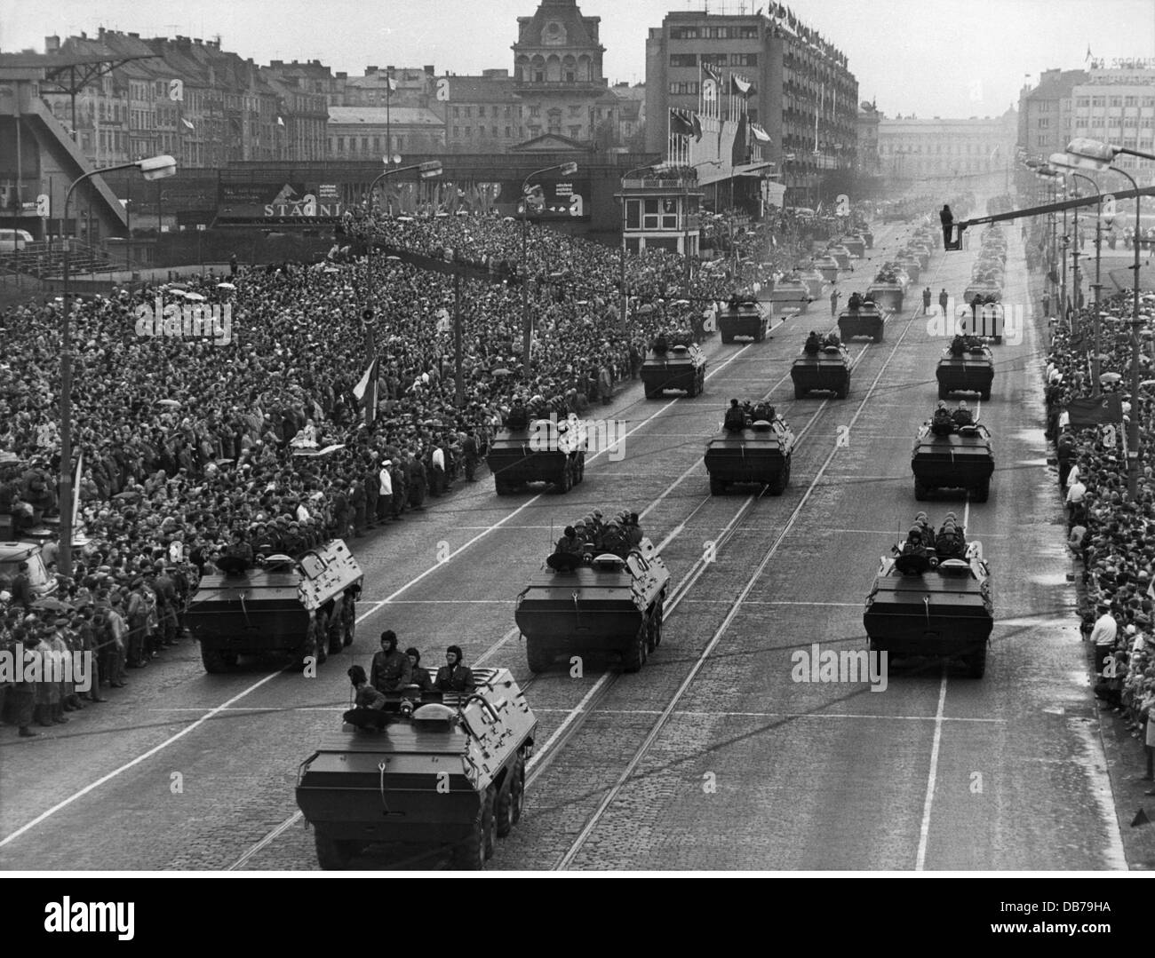military, Czechoslovakia, army, infantry, Soviet armoured personnel carriers BTR-60, Victory Day parade, Prague, - Stock Image