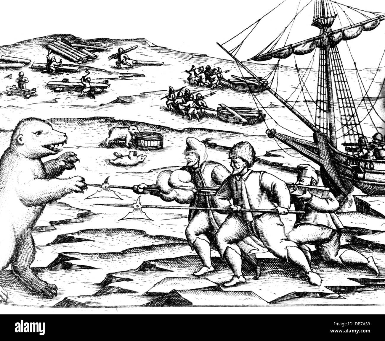 Barents, Willem, circa 1550 - 20.6.1597, Dutch navigator, third arctic expedition 1596 - 1597, hibernating on Novaya - Stock Image