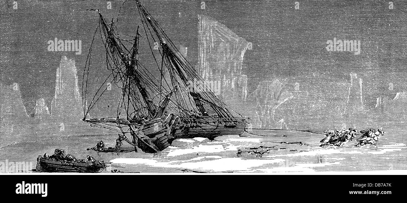 transport / transportation, navigation, sailing ship, attempt to free a sailing ship from the polar ice, wood engraving, - Stock Image