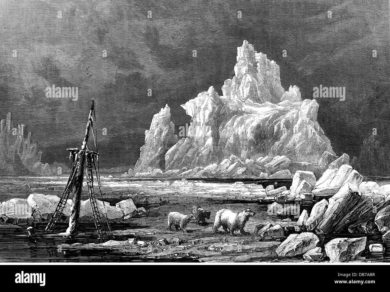 geography / travel, arctic, iceberg in the pack ice, polar sea near Greenland, wood engraving, 2nd half 19th century, - Stock Image