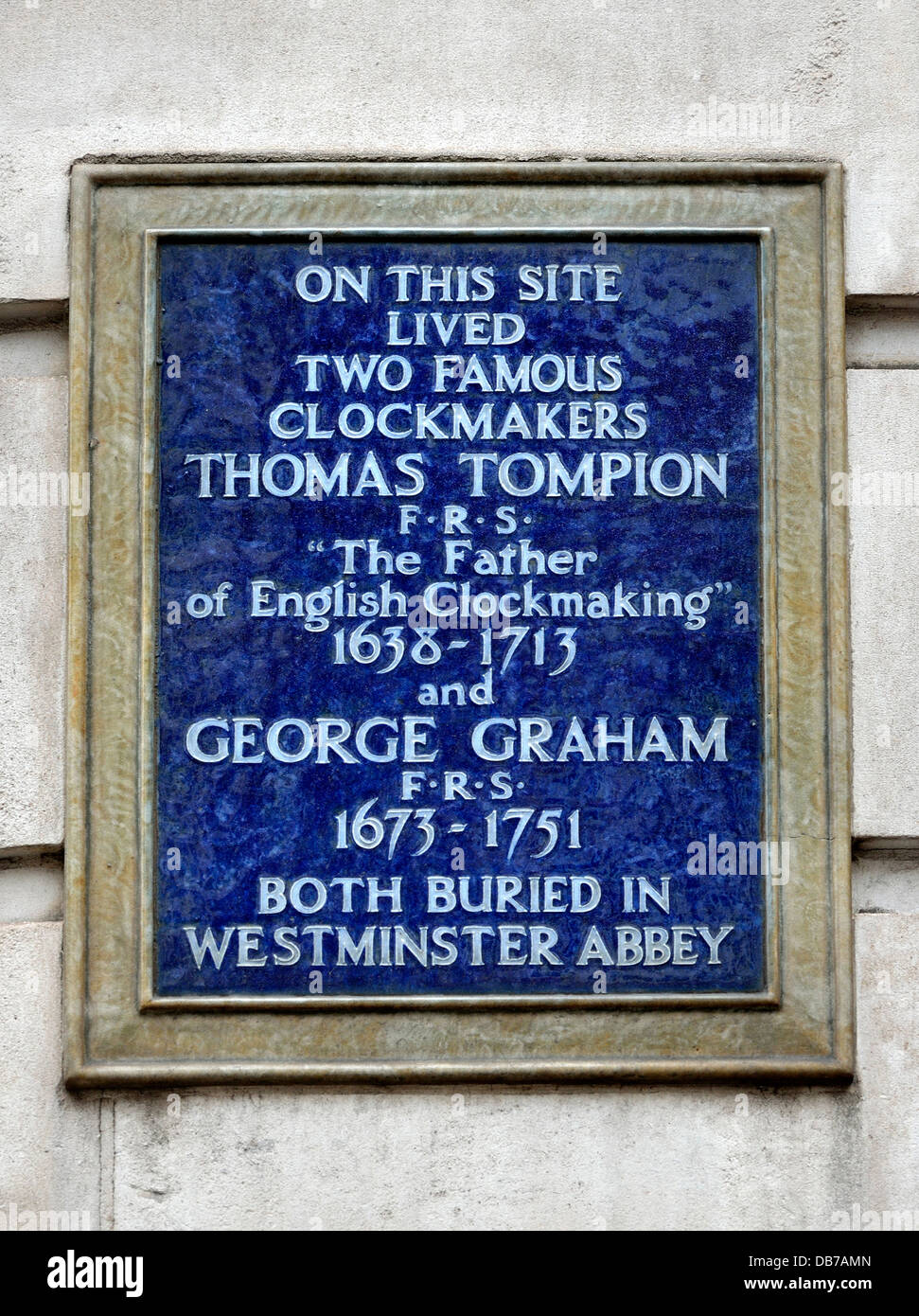 London, England, UK. Plaque on Whitefriars Street, EC4. Home of clockmakers Thomas Tompion and George Graham - Stock Image
