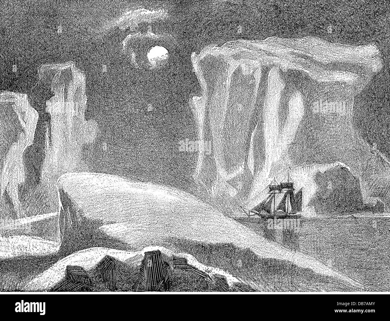 science, polar research, ship in a polar landscape during moonlight, wood engraving, 2nd half 19th century, transport, - Stock Image
