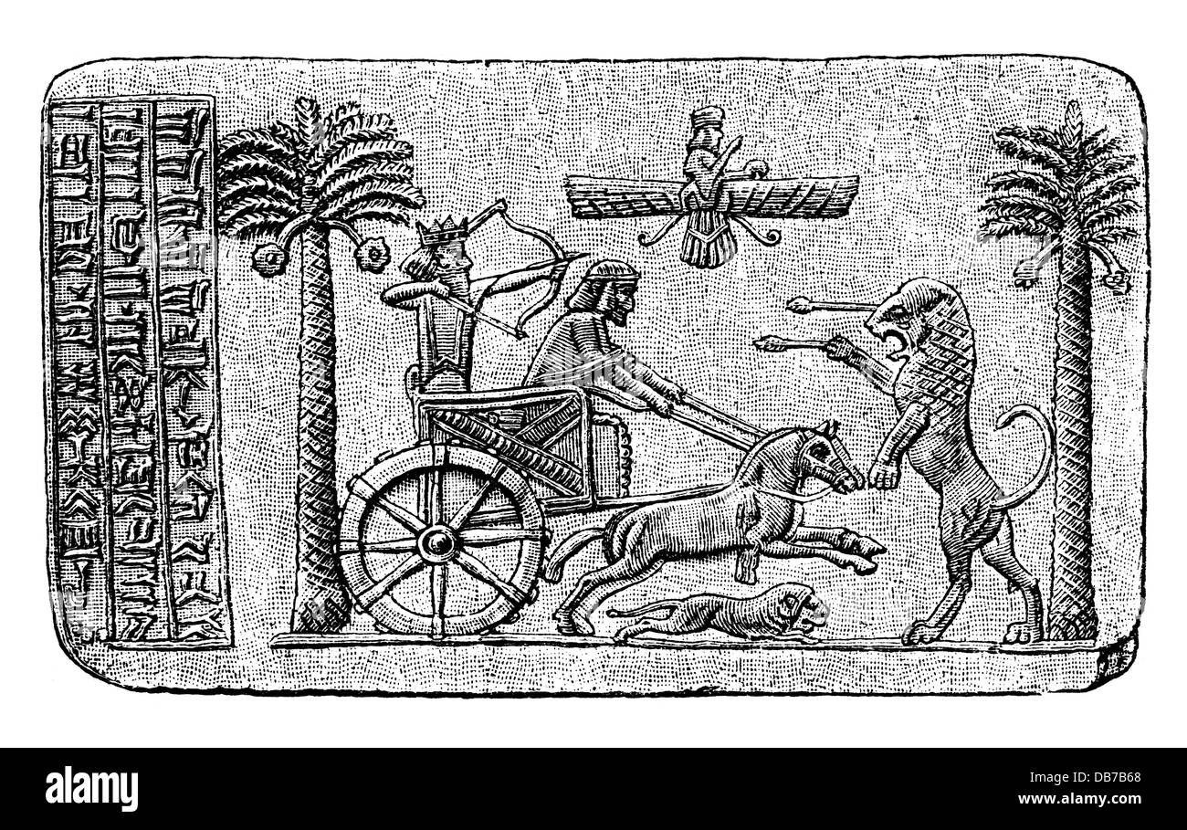 Darius I 'the Great',549 - 486 BC, King of the Persians 522 - 486 BC, hunting lions, seal, wood engraving, - Stock Image
