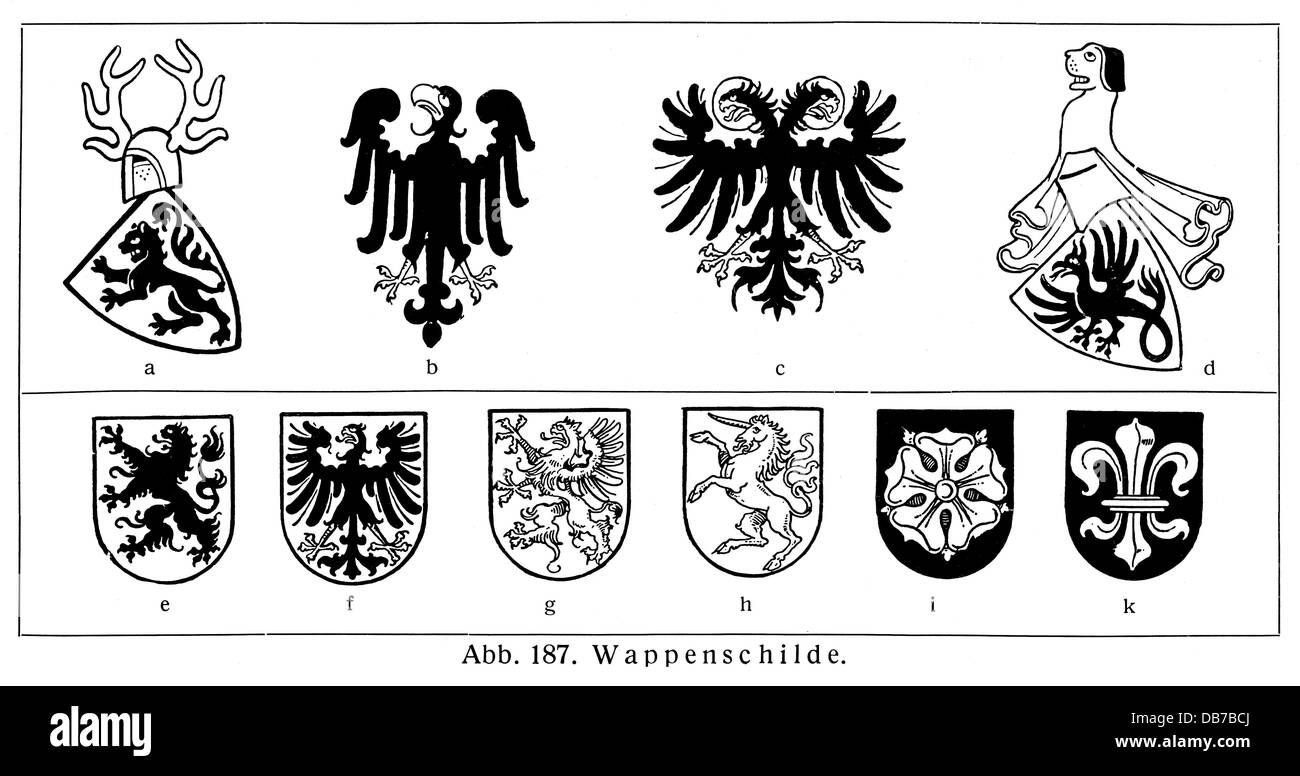 heraldry, charges, a: panther, b: imperial eagle 13th century, c: imperial eagle 14th century, d: dragon, e: lion, - Stock Image