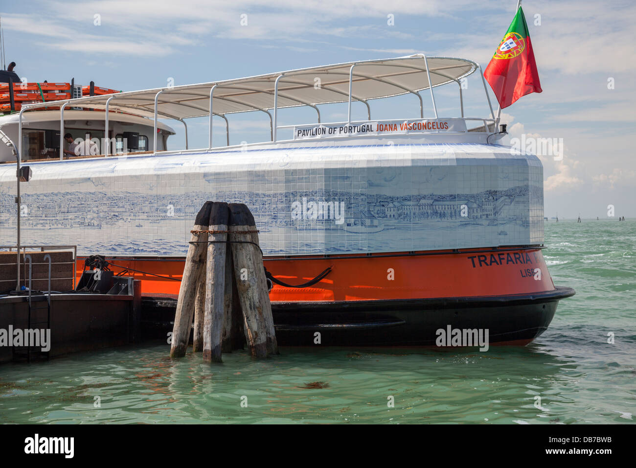 A J.Vasconcelos' work: the Lisbon ferryboat coated with ceramic tile-work, which can be seen in Venice (55th - Stock Image