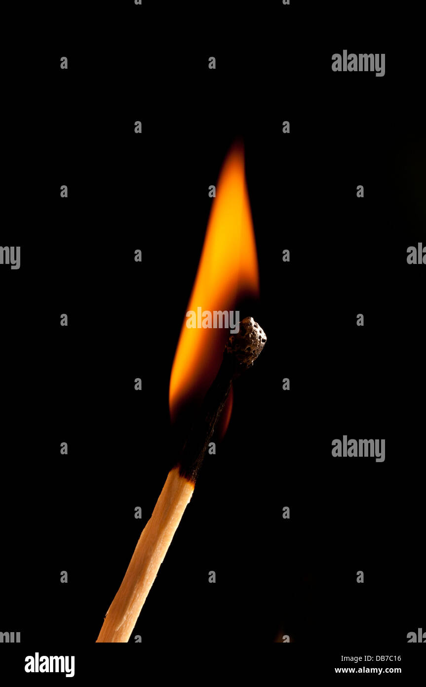 burning match - Stock Image