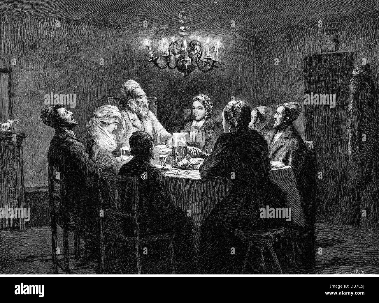 religion, Judaism, Passover Seder, wood engraving, by Moritz Coschell (1872 - 1943), 1896, Additional-Rights-Clearences - Stock Image