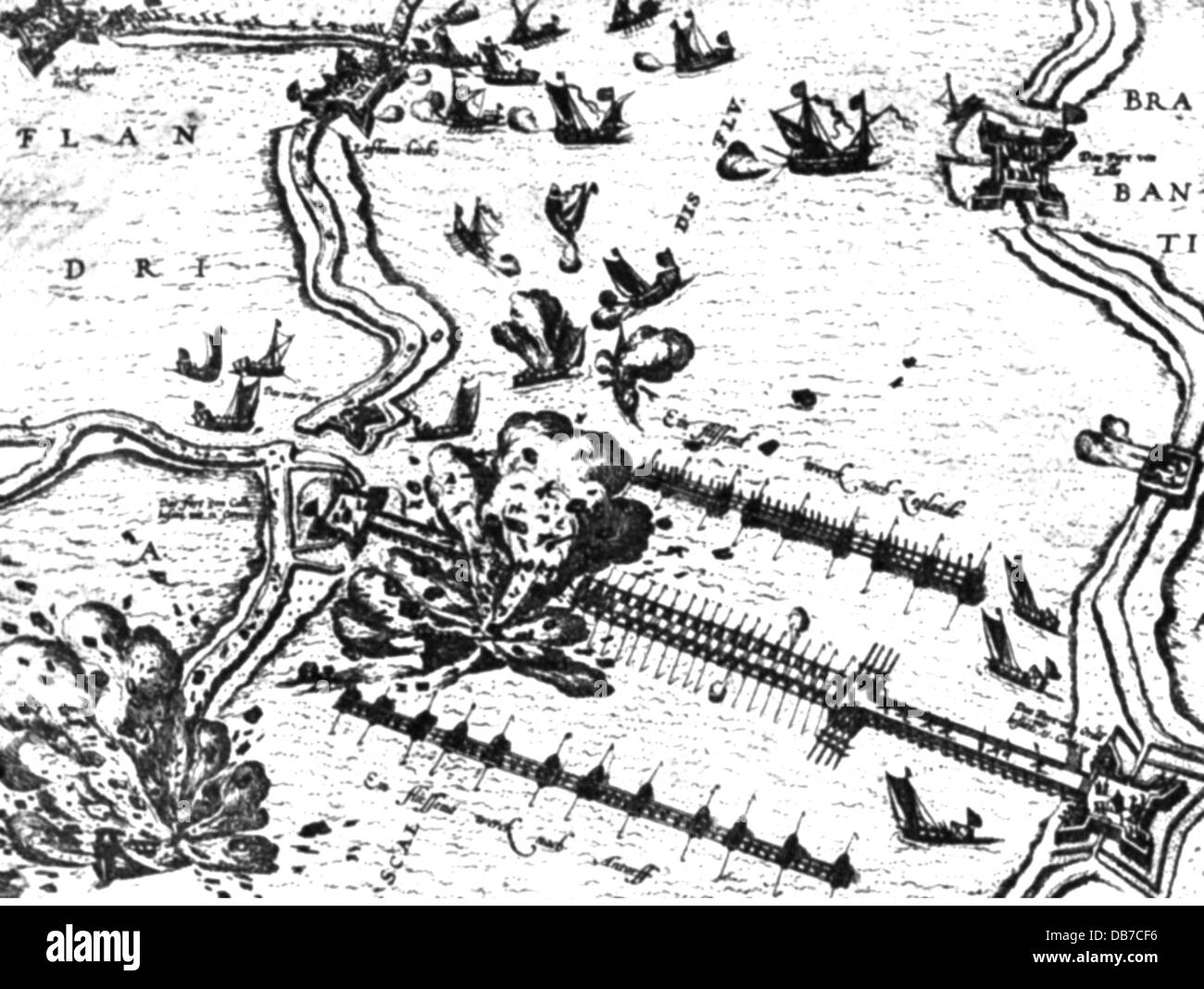 Eighty Years' War 1568 - 1648, Siege of Antwerp, 1584 - 1585, trial to destroy the Spanish floating bridge with - Stock Image