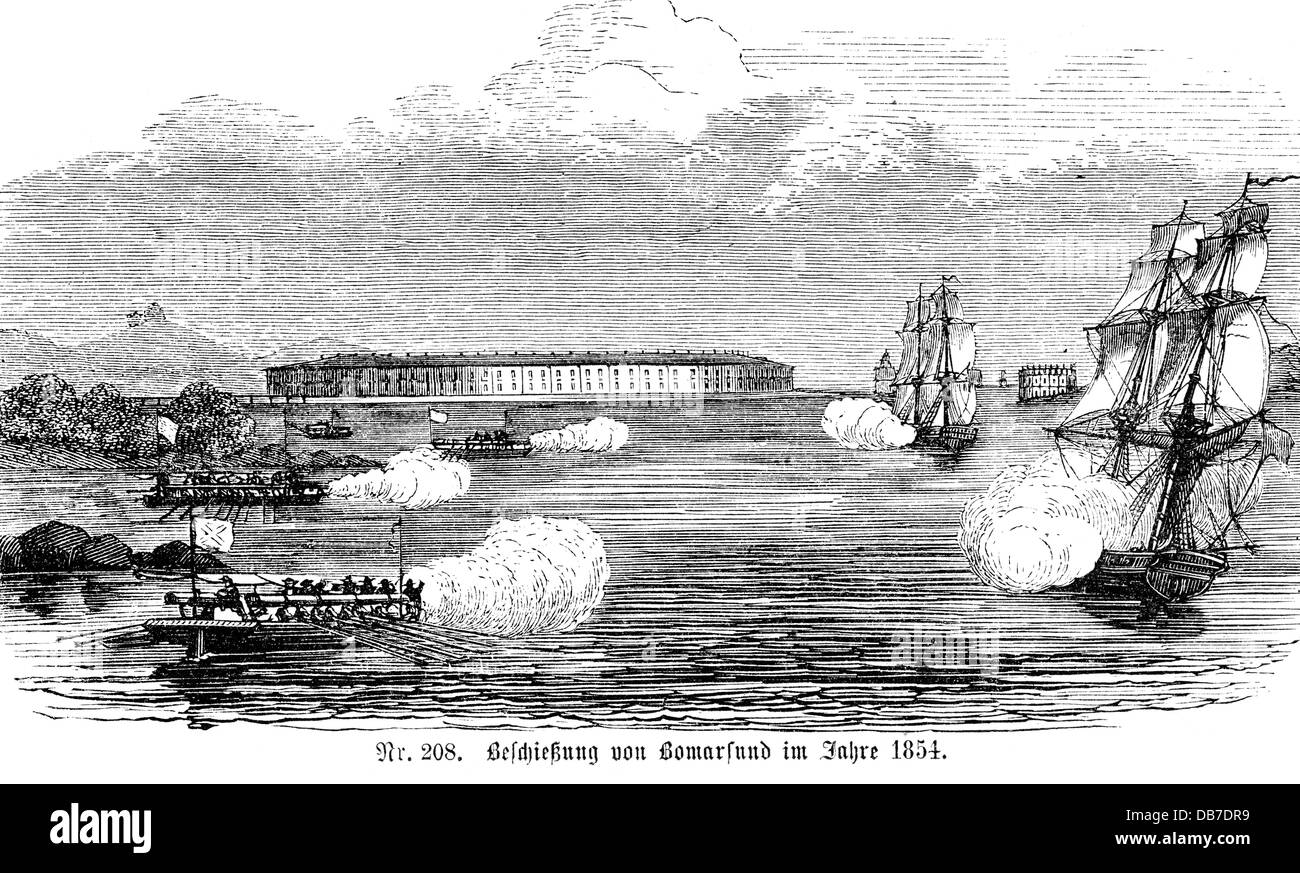 Crimean War 1853 - 1856 bombardment of Bomarsund Aland Islands Finland August 1854 wood engraving 2nd half 19th - Stock Image