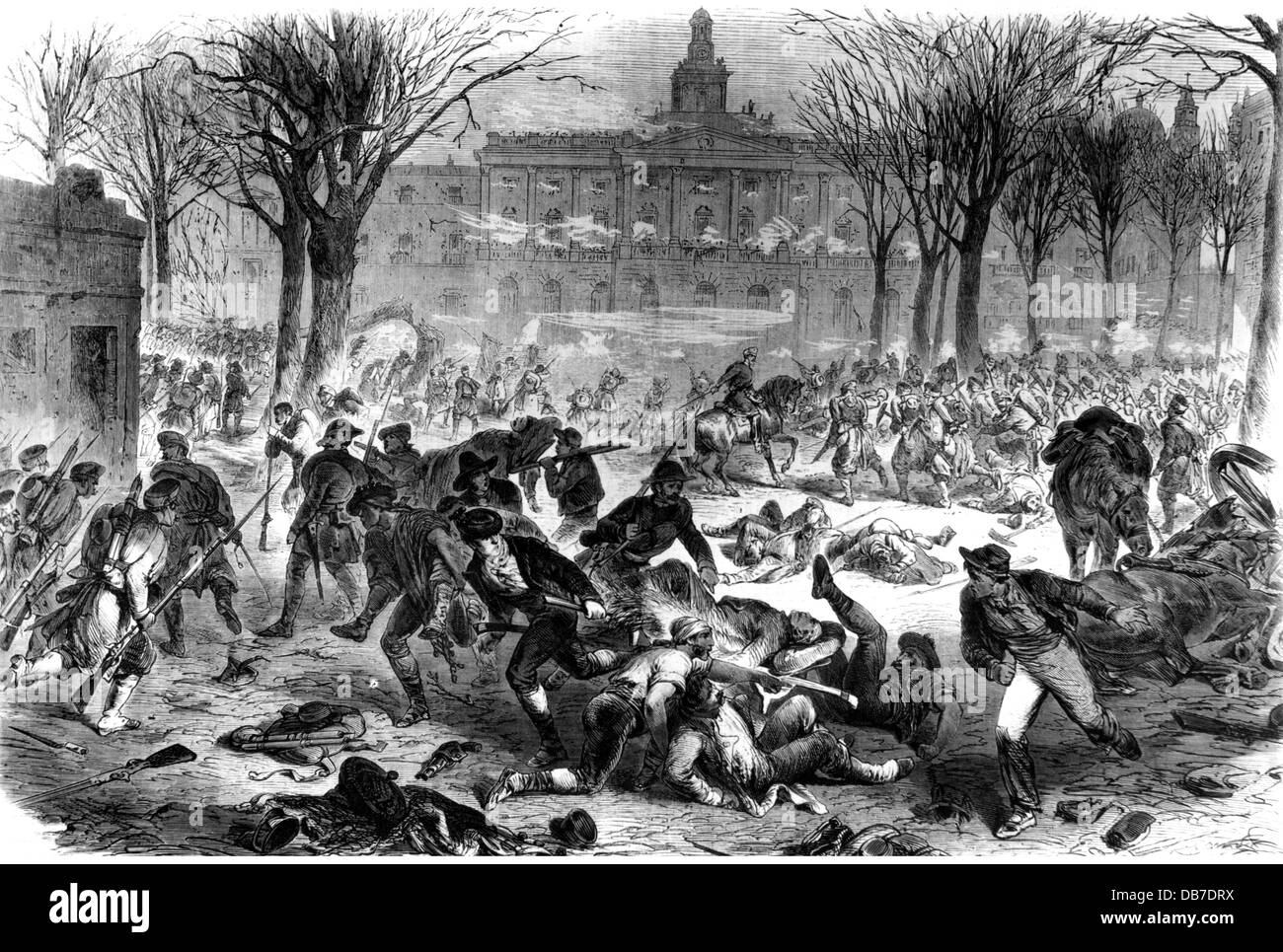 "Glorious Revolution in Spain 1868, uprising in Cadiz, street fighting, wood  engraving after drawing, ""Illustrierte Zeitung"", Leipzig, 1868, ..."