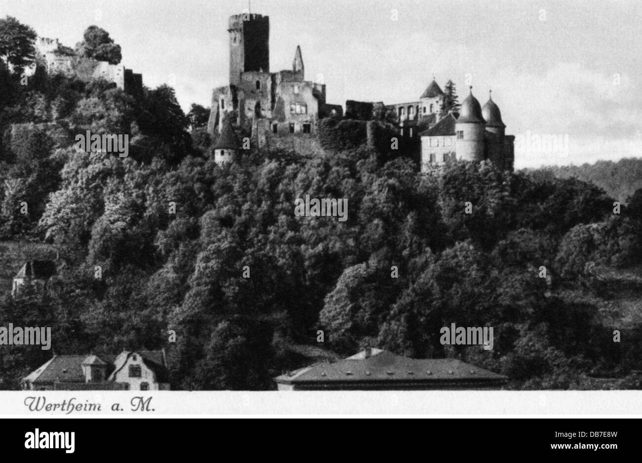 geography / travel, Germany, Wertheim, castles, castle ruin, built: 12th century, exterior view, picture postcard, - Stock Image