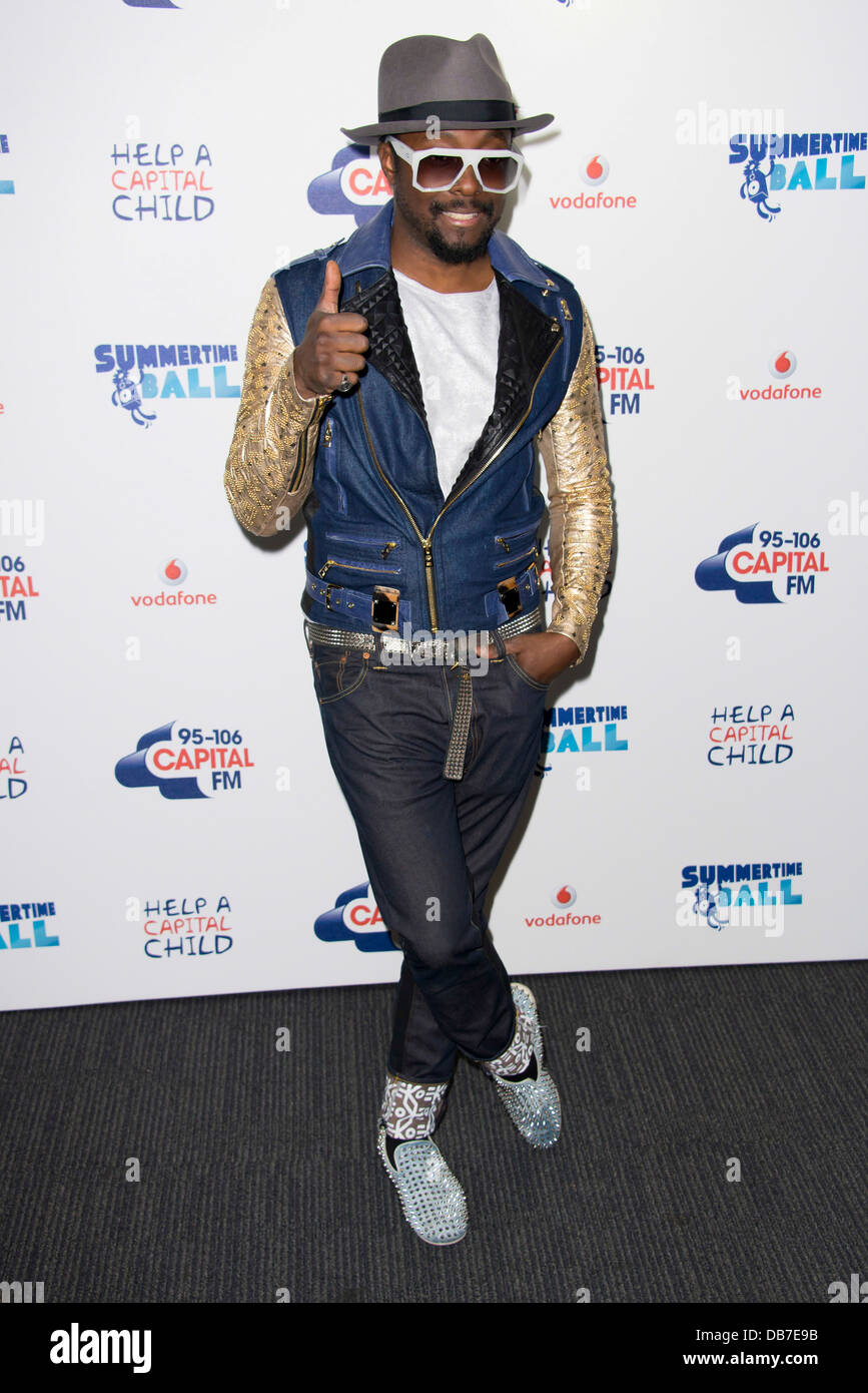 U.S singer, Will.i.am arrives for the Capital FM Summertime Ball, Wembley Stadium, London, Sunday, June. 9, 2013. Stock Photo