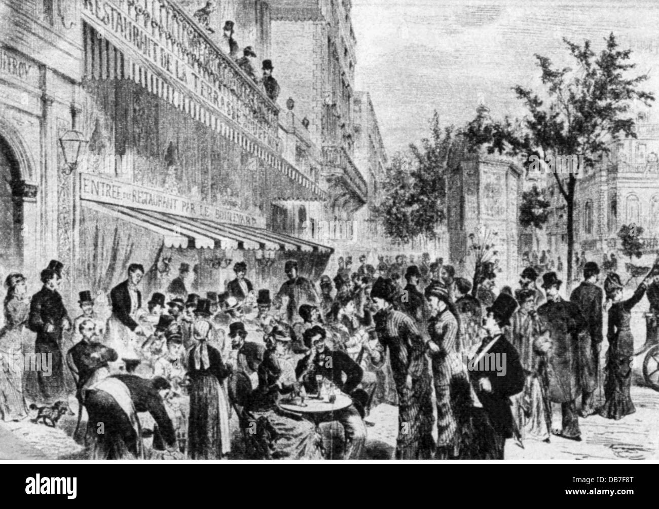 gastronomy, cafes / street cafes, in front of a Parisian coffeehouse, wood engraving, 19th century, 19th century, - Stock Image