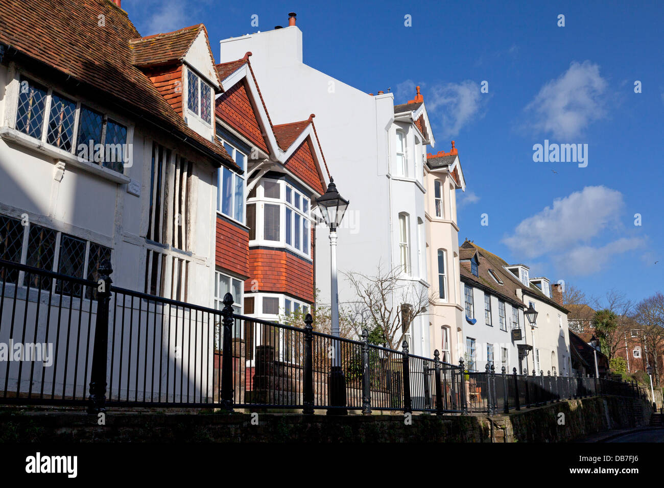 Row of houses in Hastings Old Town, East Sussex - Stock Image