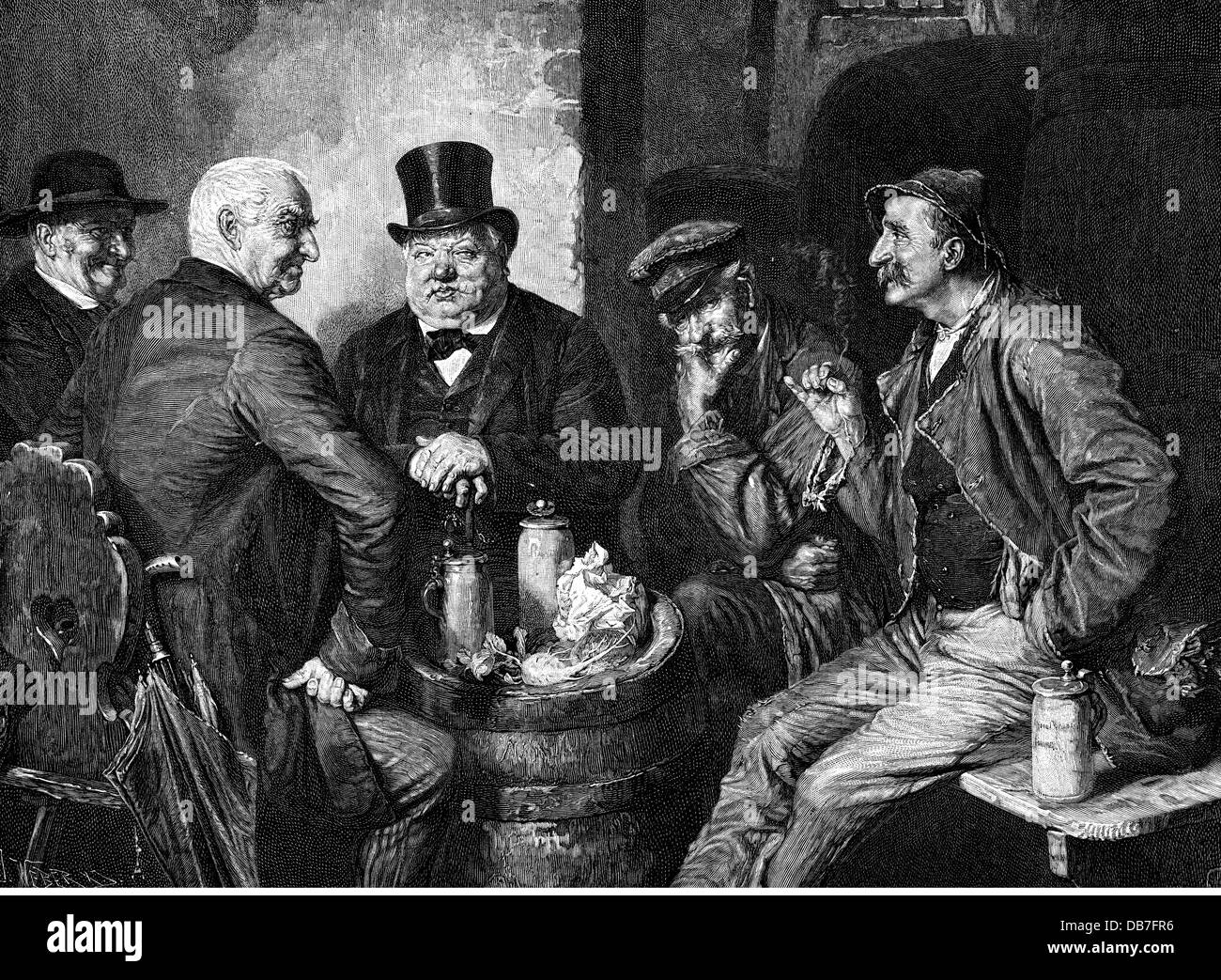 alcohol, beer, 'Gallows humour' (Galgenhumor), after painting, by Eduard von Grützner (1846 - 1925), - Stock Image