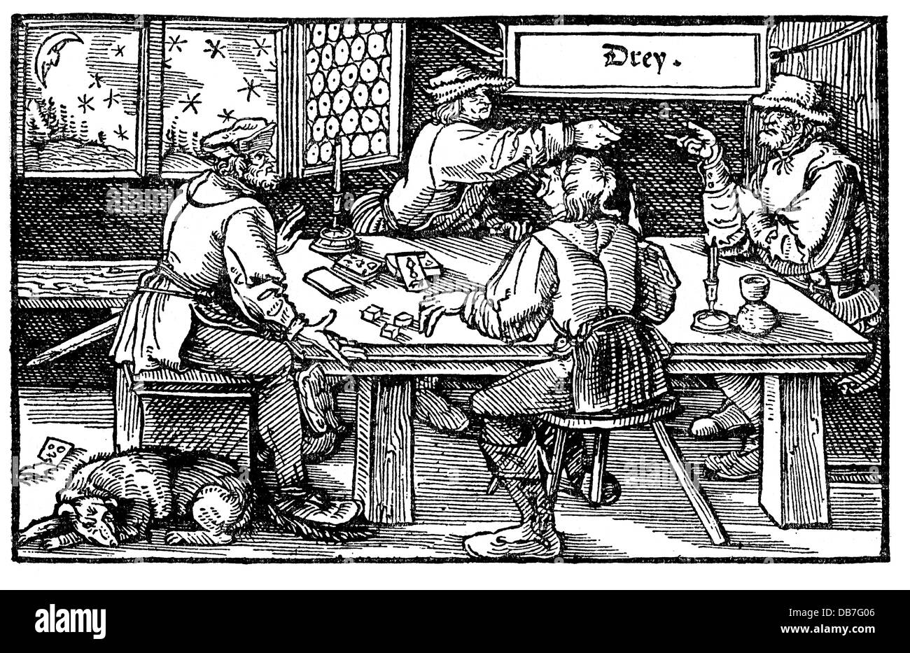 gastronomy, inns, rural tavern, woodcut, Augsburg, 1537,  Additional-Rights-Clearences-NA