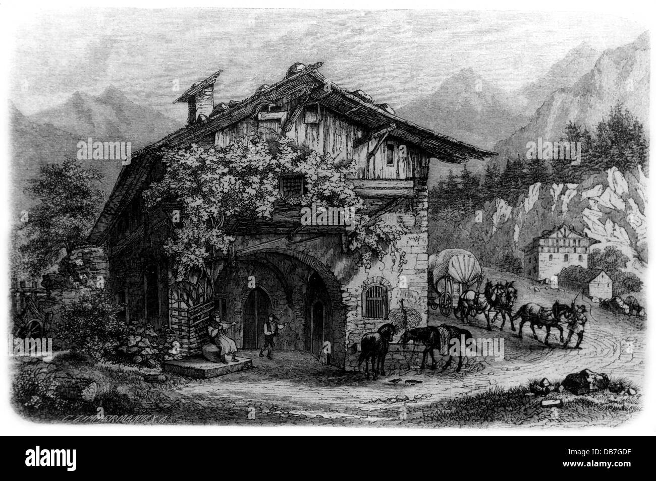 gastronomy, inns, tavern near Brixen, exterior view, wood engraving, by C.Zimmermann, 19th century, 19th century, - Stock Image