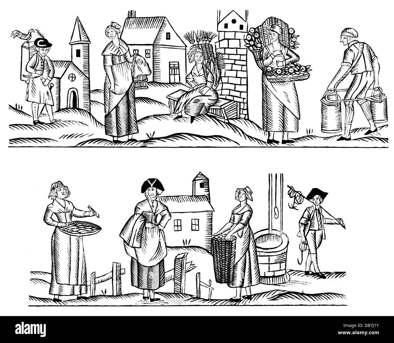 trade, merchants, vendors of agricultural products, woodcut, 18th century, 18th century, graphic, graphics, profession, - Stock Image