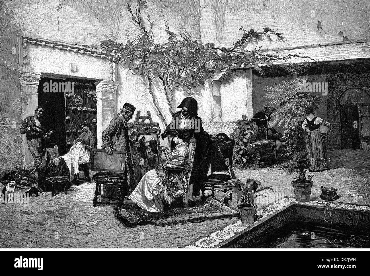 trade, merchants, customer vsiiting antiques dealer, after painting, by Pio Joris (1843 - 1921), wood engraving, - Stock Image