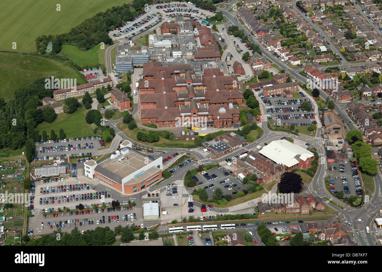 aerial view of Queens Hospital, Burton upon Trent in Staffordshire - Stock Image