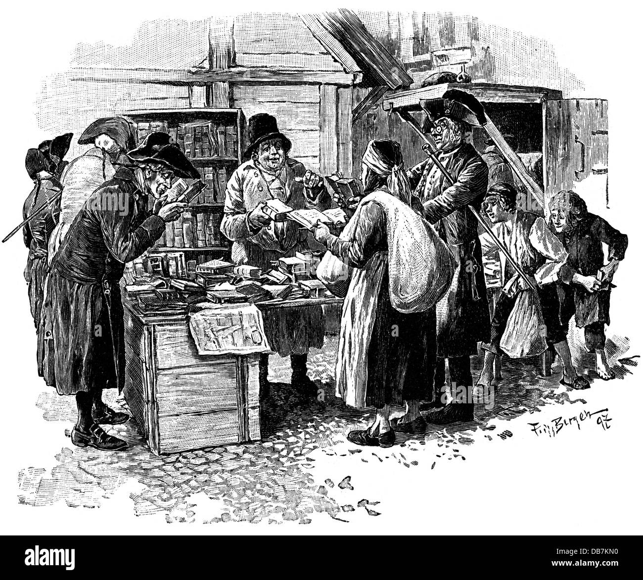 trade, trade fairs, antique dealer at the Leipzig Trade Fair, 1797, by Fritz Bergen (1857 - 1941), wood engraving, - Stock Image
