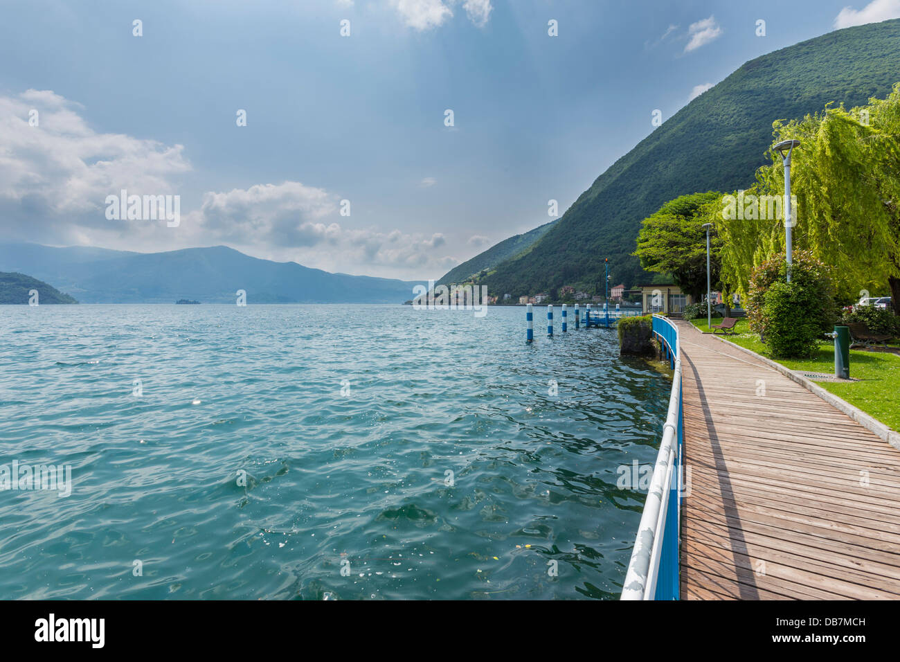 Waterfront on Lake Iseo or Lago d'Iseo - Stock Image