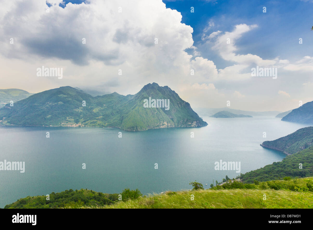 Corna Trentapassi, 1248m, and Monte Isola island in Lake Iseo or Lago d'Iseo - Stock Image