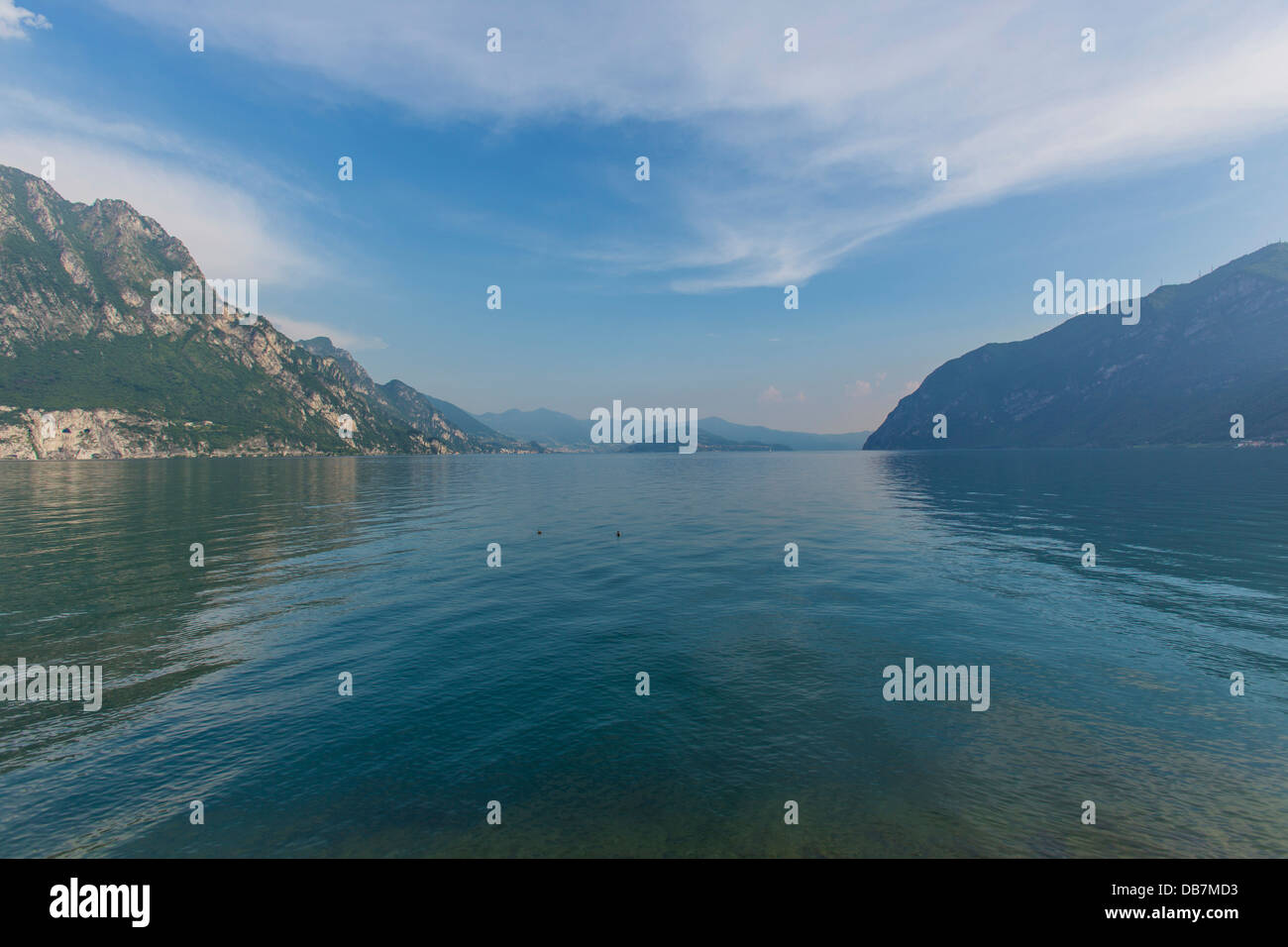 Lake Iseo or Lago d'Iseo with Monte Isola - Stock Image