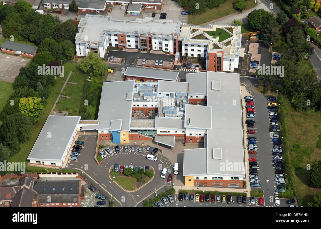 aerial view of Samuel Johnson Community Hospital in Lichfield, Staffordshire - Stock Image
