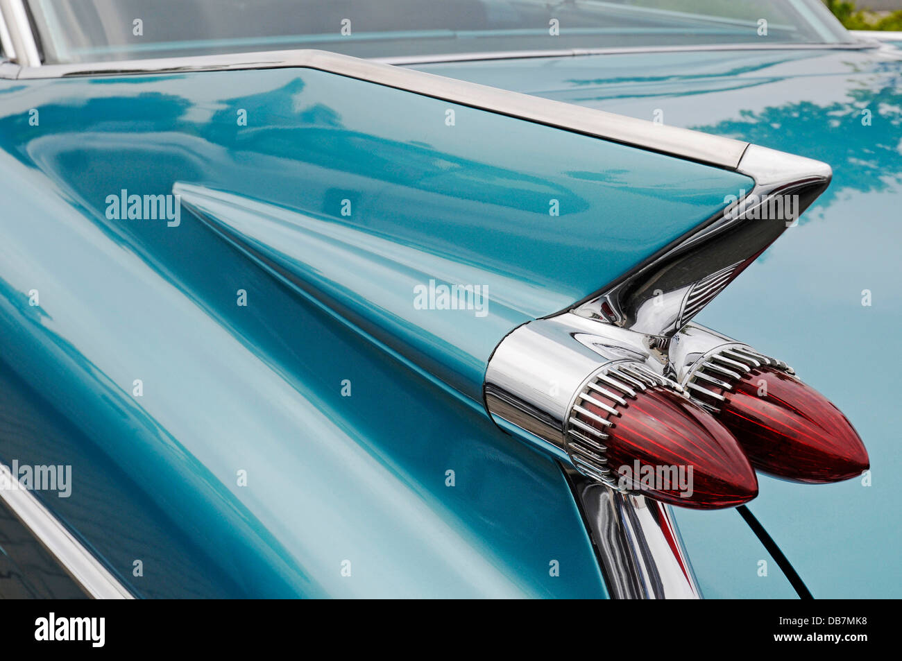 Tail fin, tail lights, Cadillac Coupe Series 62, American vintage car - Stock Image
