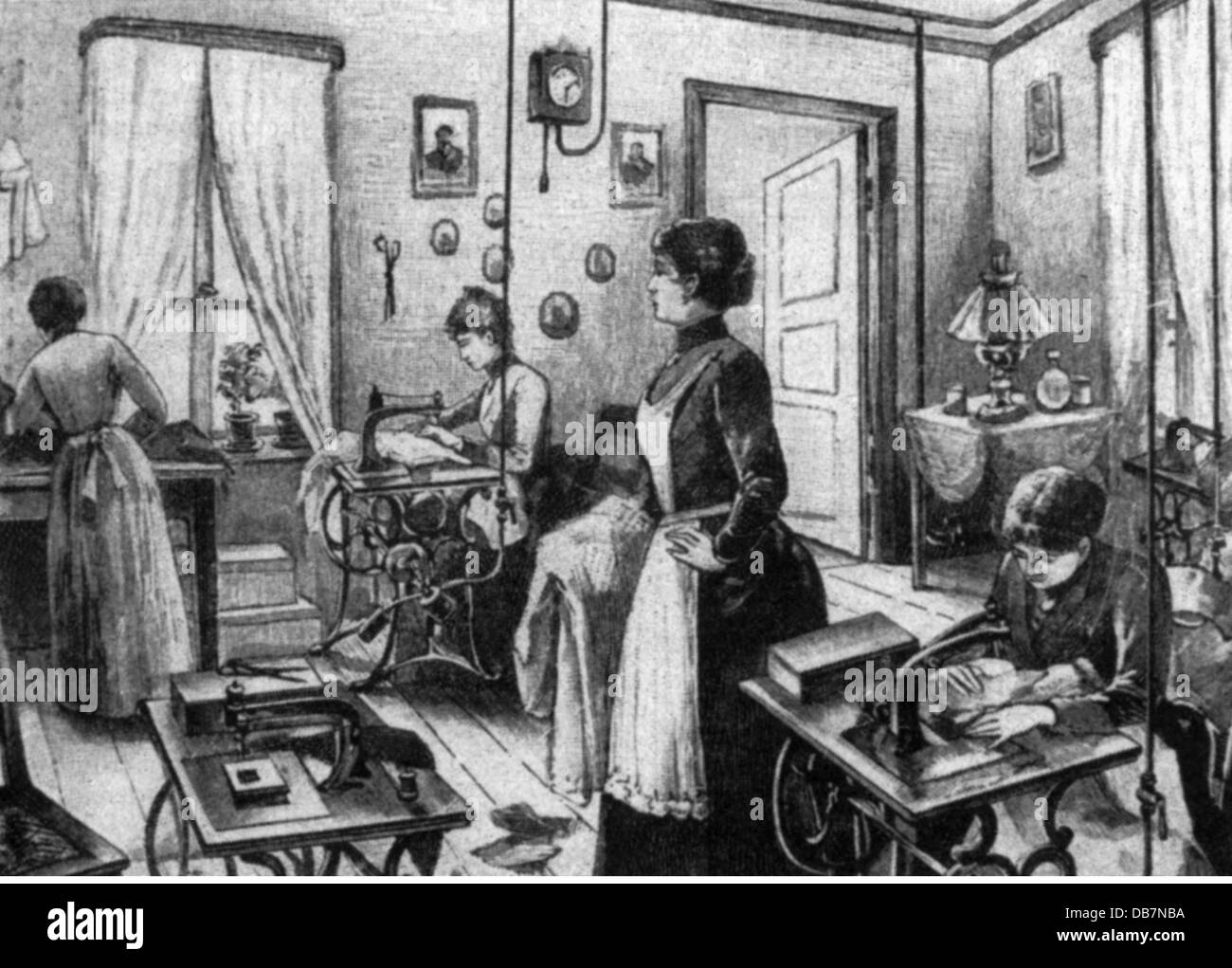 people, professions, tailors at the sewing machine, run with compressed air, wood engraving, circa 1887, Additional - Stock Image