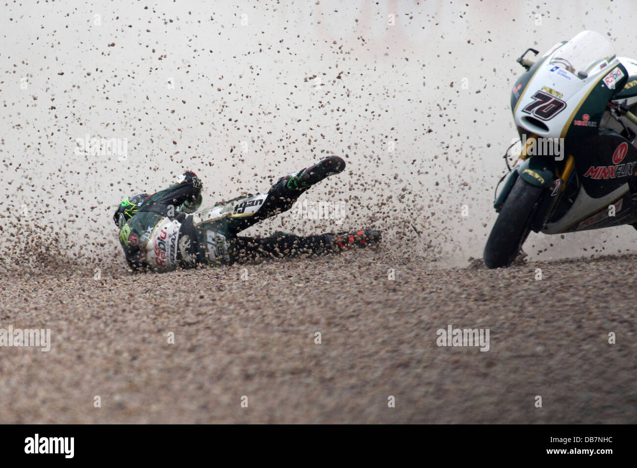Crash during a motorcycle race into the gravel at Sachsenring racing circuit Stock Photo