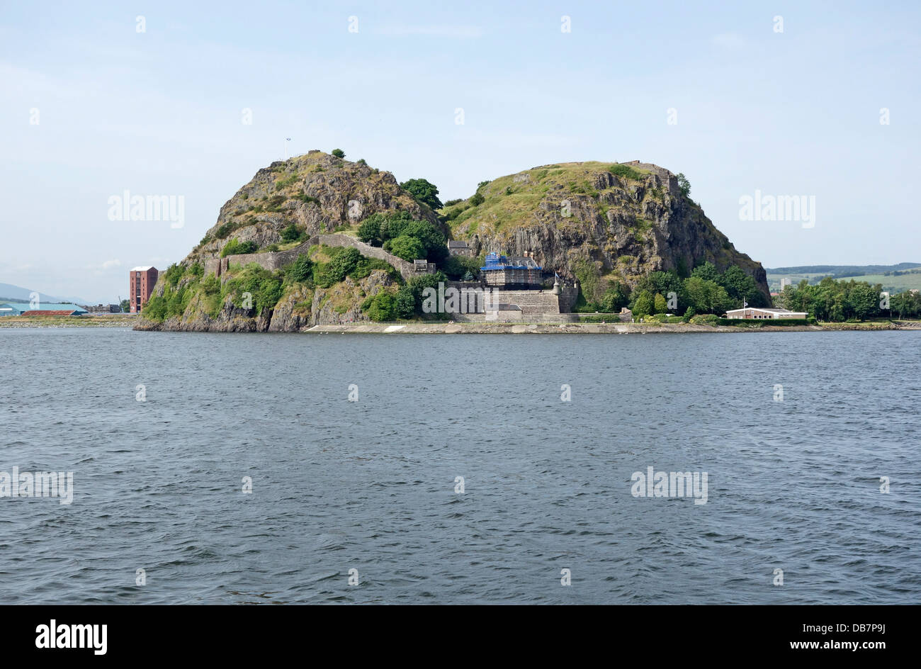 Dumbarton Rock with Dumbarton Castle on the River Clyde in West Dunbartonshire Scotland - Stock Image