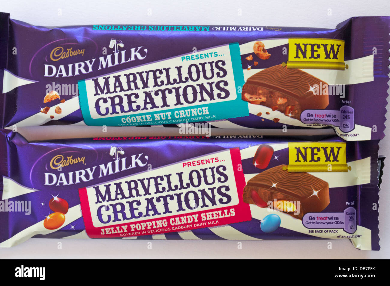 Cadbury Dairy Milk presents Marvellous Creations - cookie nut crunch and jelly popping candy shells chocolate bars - Stock Image