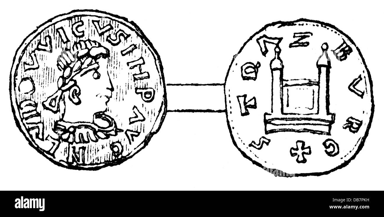 money / finances, coins, Frankish Empire, coin, by emperor Louis the Pious, Strasbourg, 9th century, wood engraving, - Stock Image