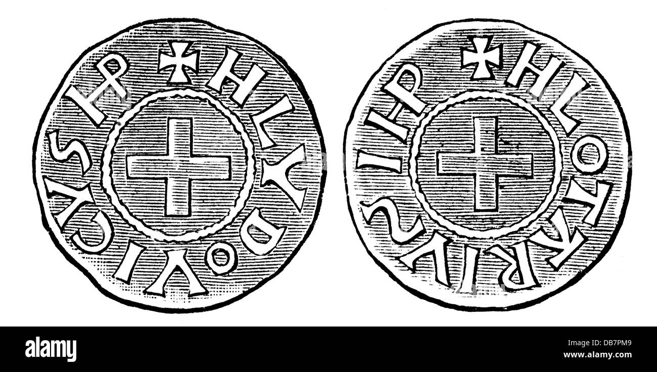 money / finances, coins, Frankish Empire, coin, by emperor Louis the Pious and his son and co-regent Lothar, 9th - Stock Image