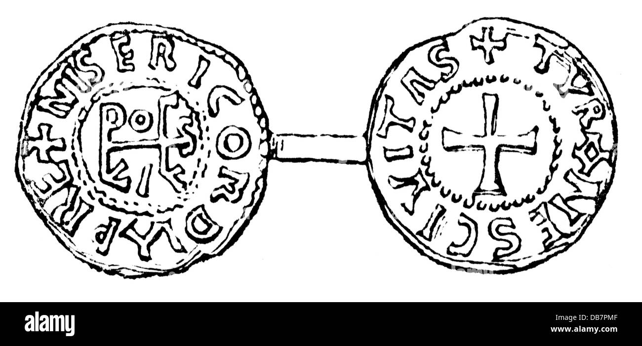 money / finances, coins, Frankish Empire, coin, by king Louis III. the Younger, Tours, 9th century, wood engraving, - Stock Image