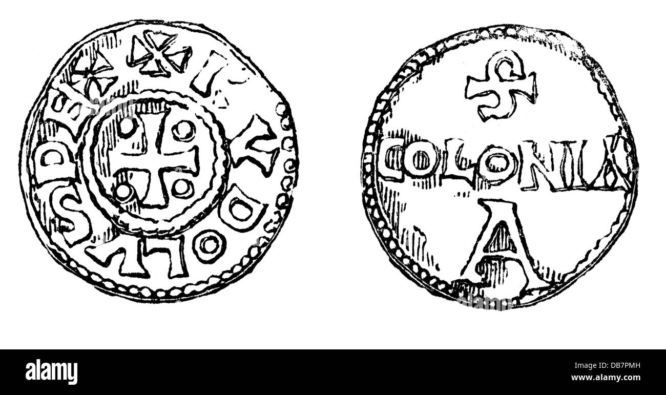 money / finances, coins, Frankish Empire, coin, by emperor Charles III. the Fat, 9th century, wood engraving, after - Stock Image