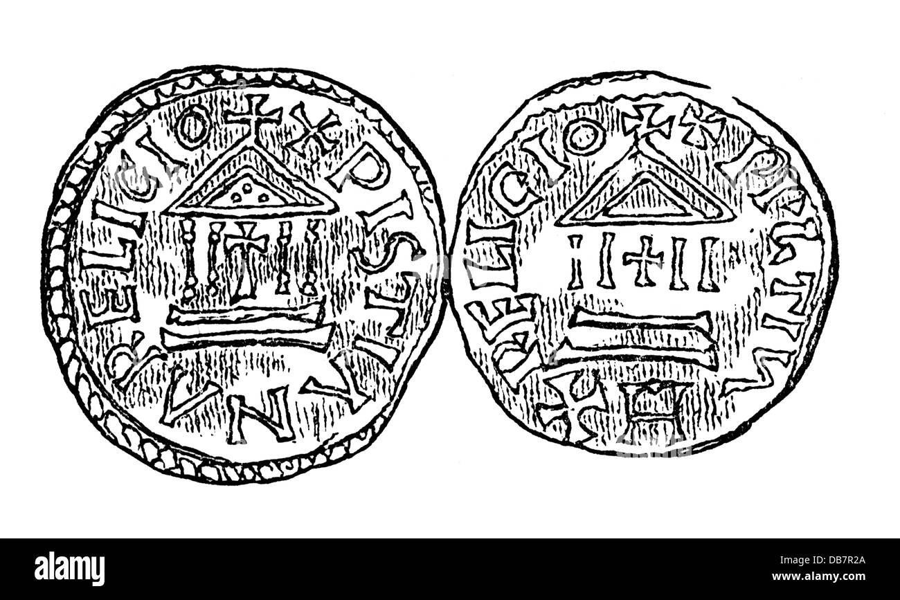 money / finances, coins, Frankish Empire, denarius, by emperor Louis the Pious, 9th century, wood engraving, 19th - Stock Image