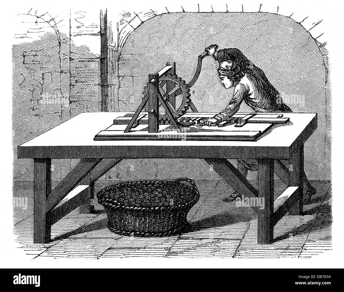 money / finances, mintage, old knurling machine, from: book of inventions, trades and industries, Otto Spamer publishing - Stock Image