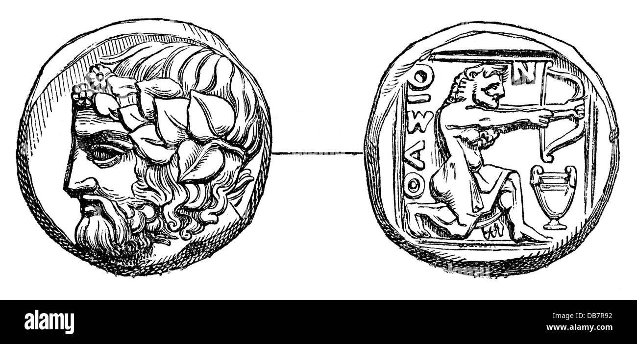 money / finances, coins, ancient world, Greece, drachma, Thasos, 4th century BC, wood engraving, from: 'Le Magasin - Stock Image