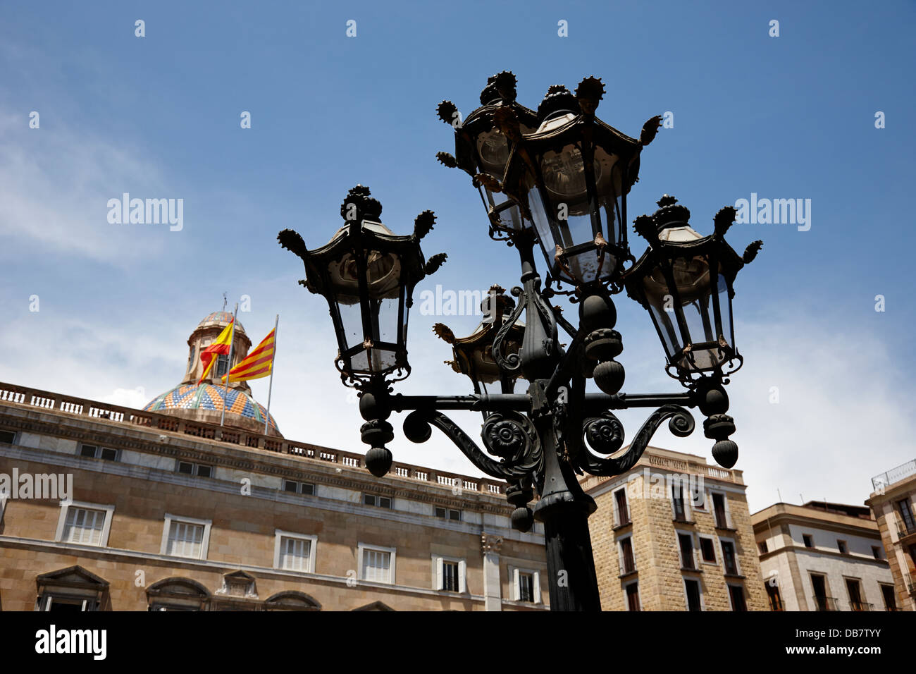 streetlight in sant jaume square Barcelona Catalonia Spain - Stock Image