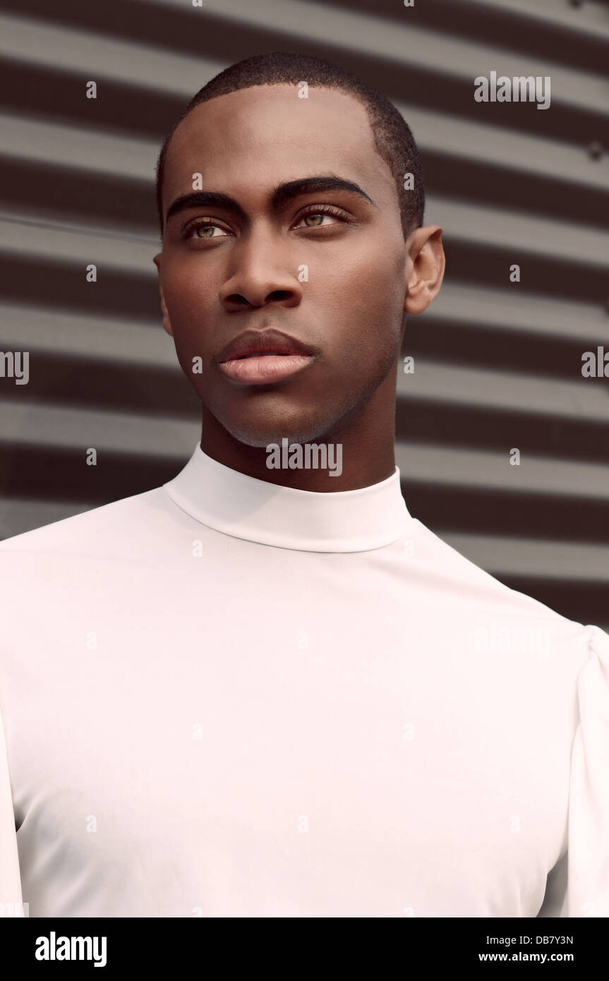 Young Black Teenage Men Playing Video Games: A Handsome Young Black Man Beauty Portrait He Wearswhite