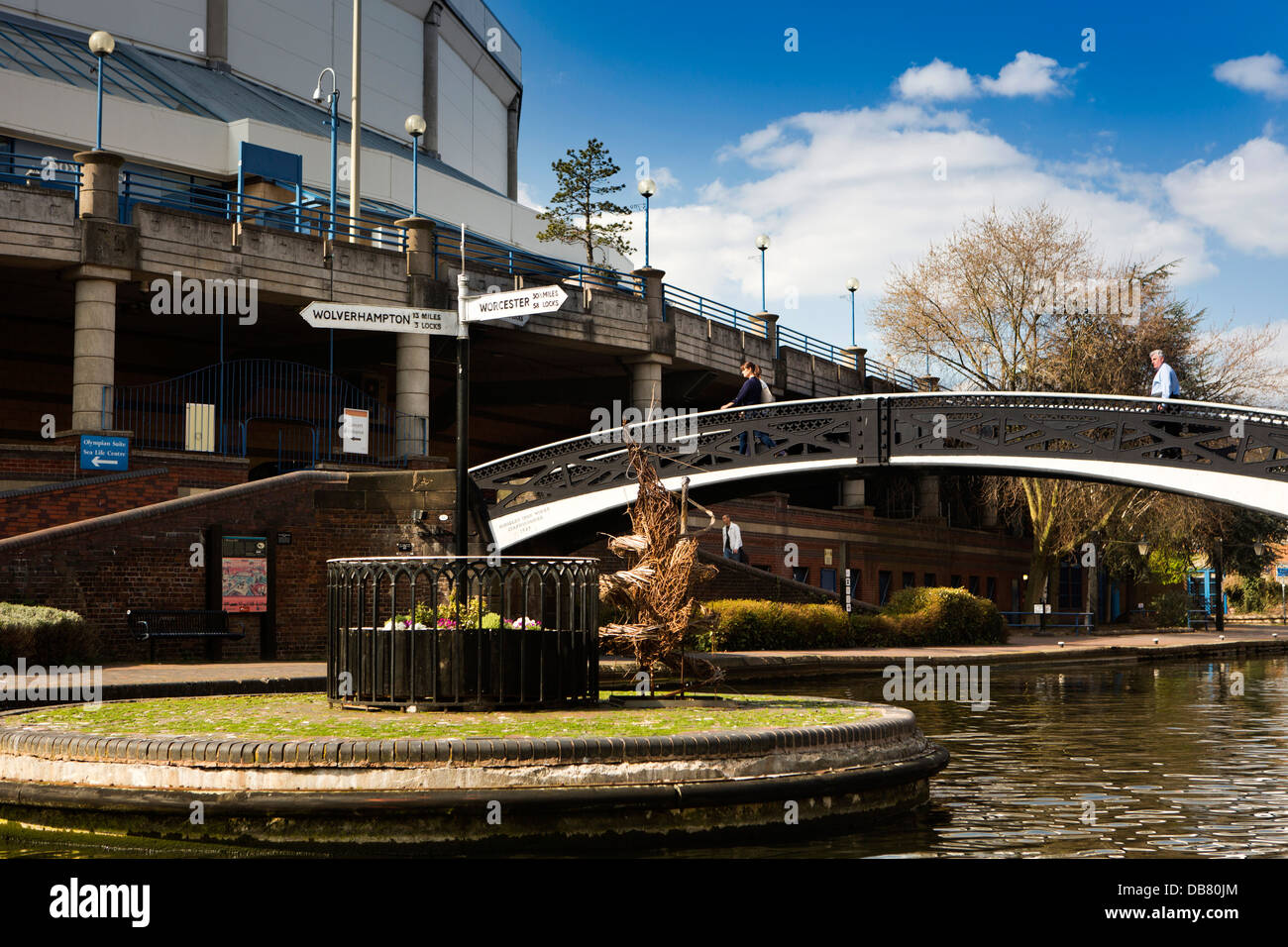 UK, England, Birmingham, Brindley Place, signbpost at junction of Canals - Stock Image