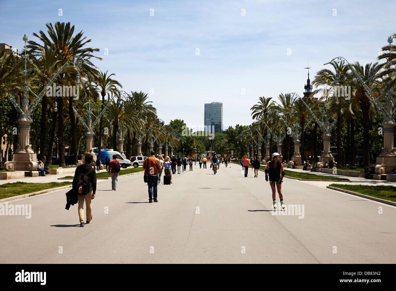 Passeig de Lluis companys promenade Barcelona Catalonia Spain - Stock Image