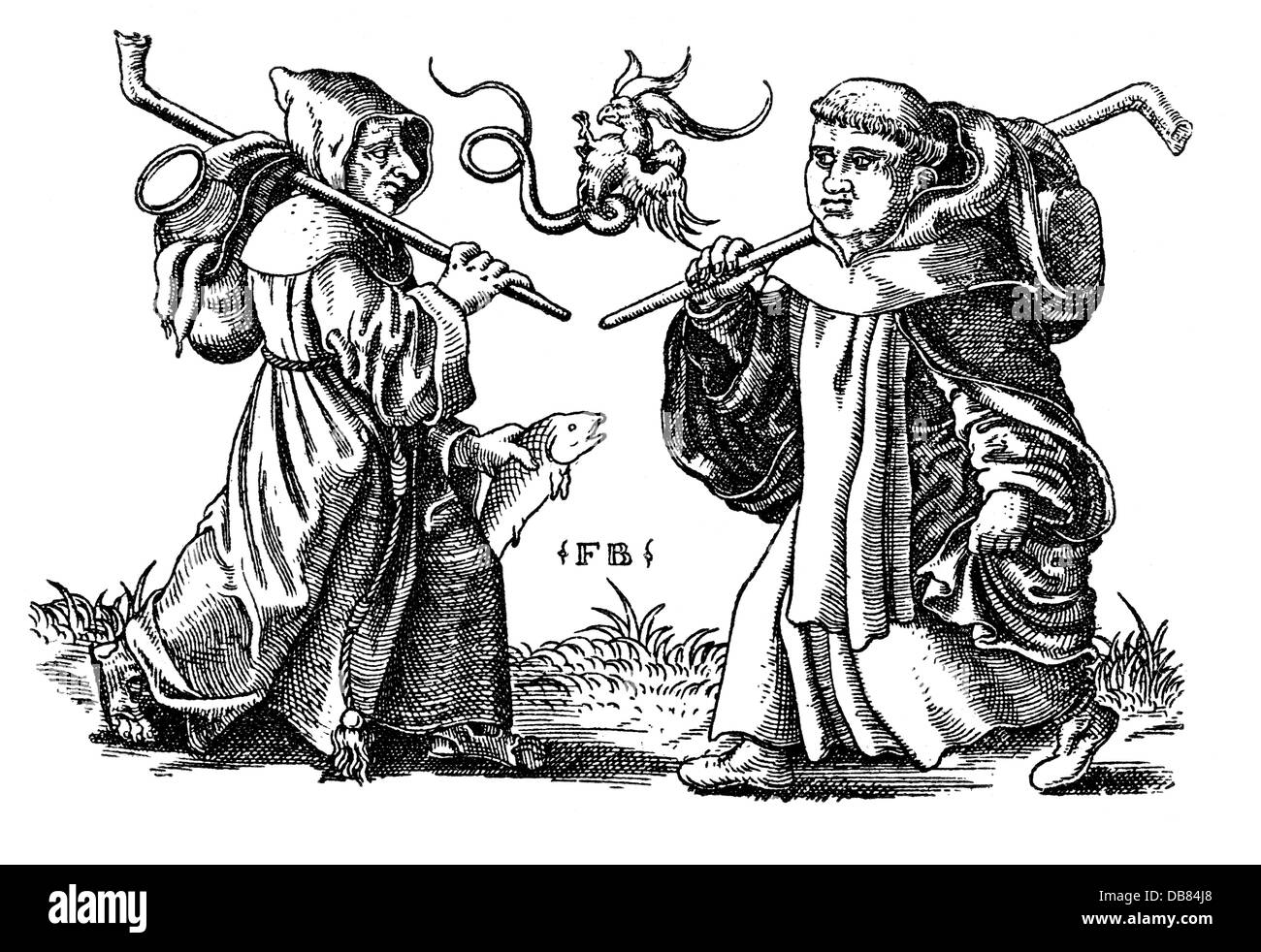 religion, clergyman, caricature, begging friars, copper engraving by Franz Brun, circa 1560, Artist's Copyright - Stock Image