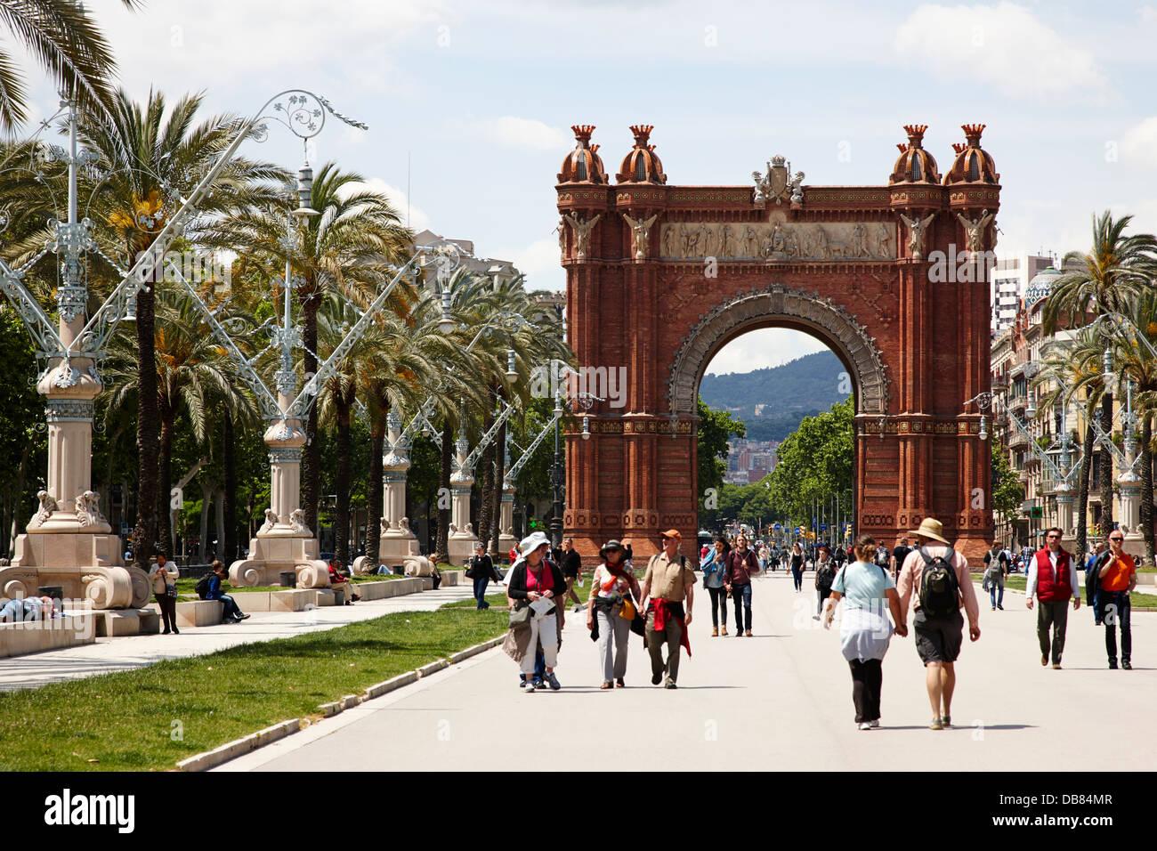 arc de triomf on Passeig de Lluis companys promenade Barcelona Catalonia Spain - Stock Image