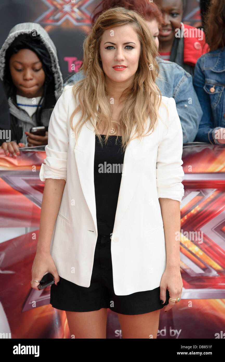 British Presenter Caroline Flack Arrives For The The X Factor In Stock Photo Alamy