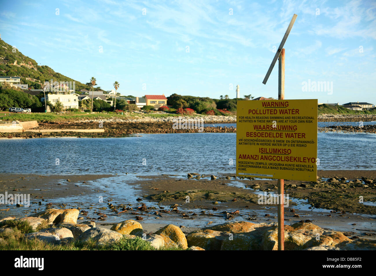warning of polluted water near Kommetjie, Cape Town - Stock Image
