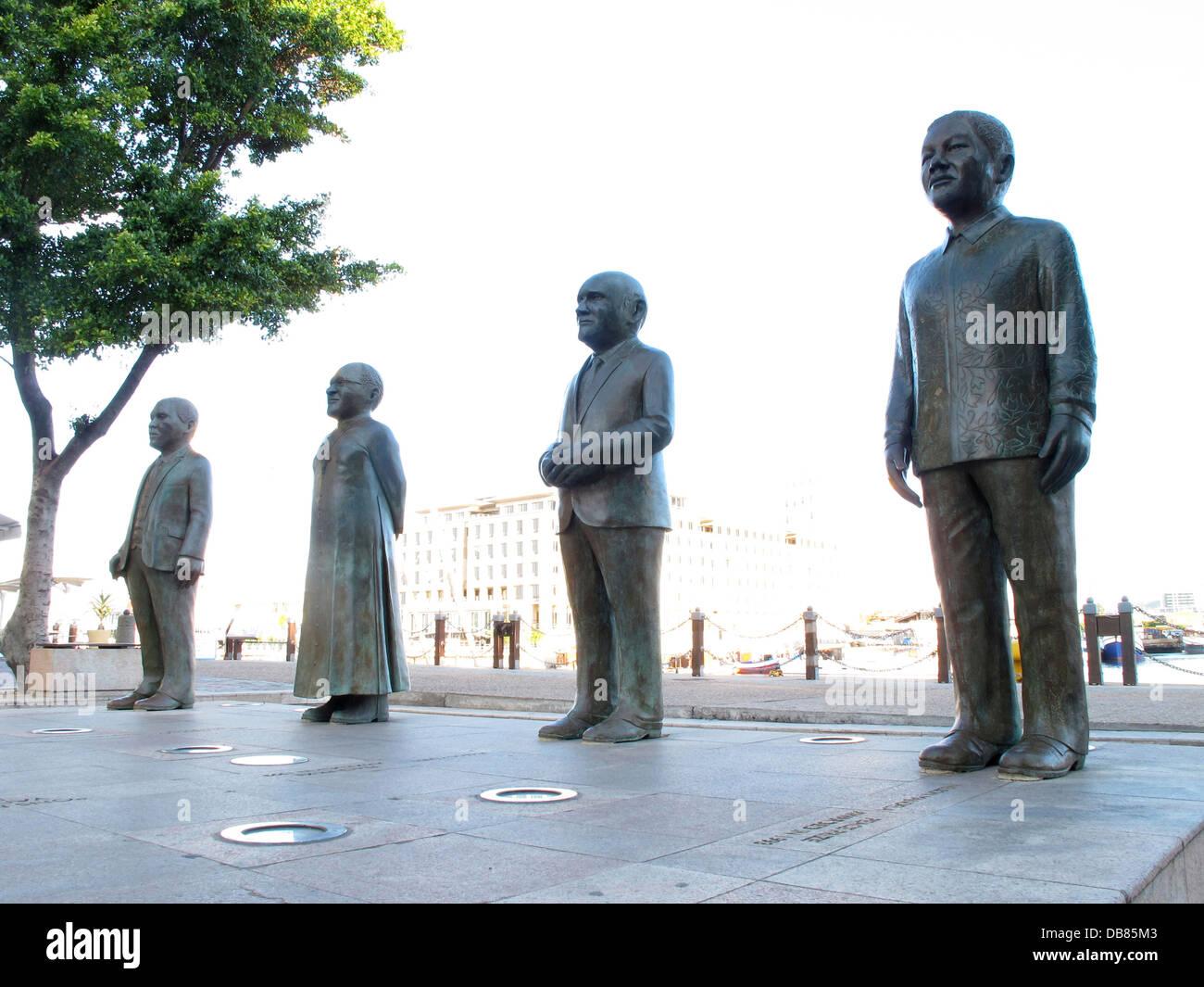 statues South African Nobel Peace Prize winners Albert Luthuli Desmond Tutu FW de Klerk Nelson Mandela Victoria - Stock Image